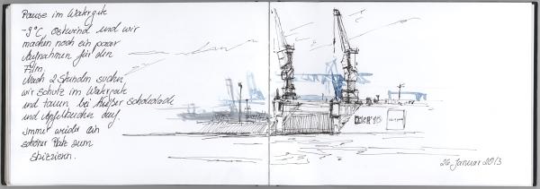 Eiskalte Füße oder Filmarbeit im Hafen