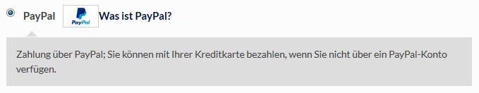 Zahlungsart - PayPal