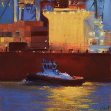 Nocturne: Tug boats at night