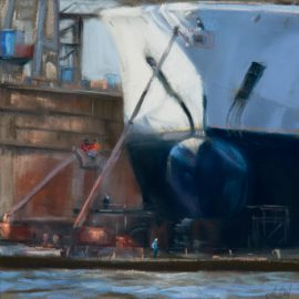 Im Dock II (Pastell)