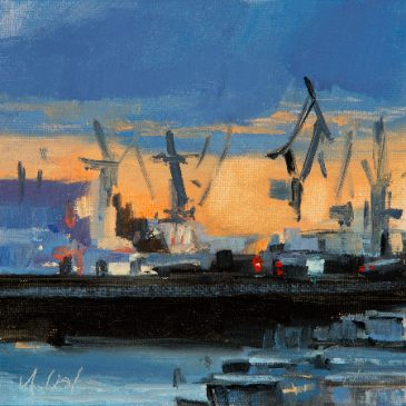 Evening in the harbour (Oil on bord)
