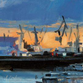 Abends im Hafen (Öl)
