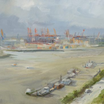 Plein Air: From up above. The Empire Riverside Hotel in Hamburg