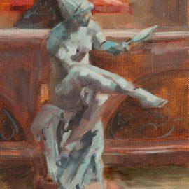 Hygieia Brunnen – Frau mit Spiegel (Oil)