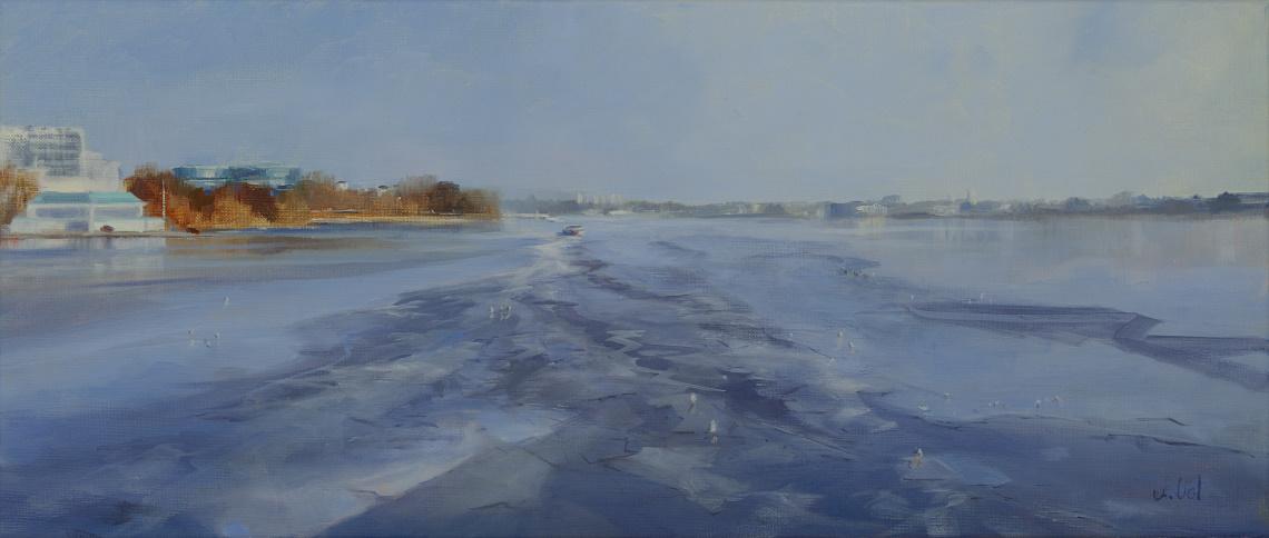 Astrid Volquardsen - Eisbildung - Oil on Linen (30x71 cm)