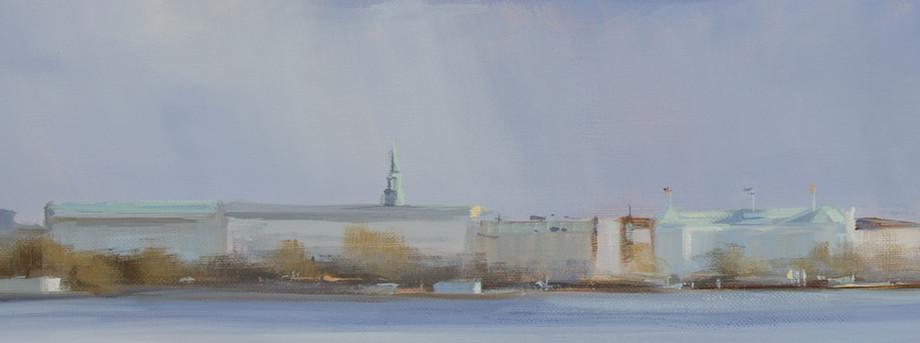 Astrid Volquardsen - Leuchtende Kupferdächer - Öl auf Leinwand (50×110 cm - Ausschnitt)