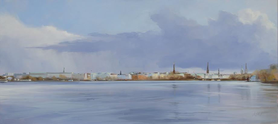 Astrid Volquardsen - Leuchtende Kupferdächer - Öl auf Leinwand (50×110 cm)