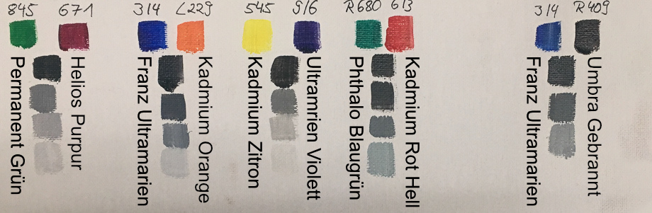farben mischen komplement rfarben grau ausmischungen in der lmalerei astrid volquardsen. Black Bedroom Furniture Sets. Home Design Ideas