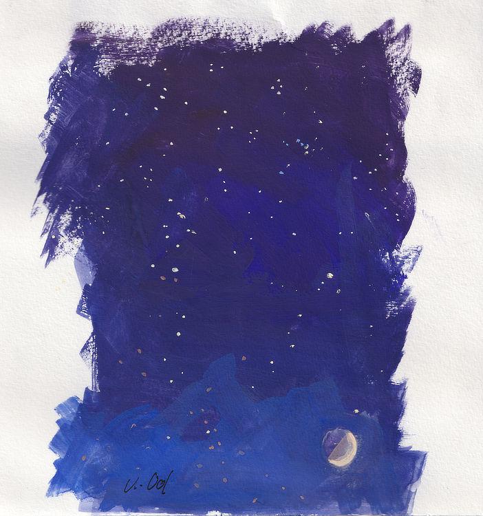 Astrid Volquardsen - Der Mond in Begleitung von Sternen